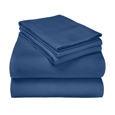 Wayfair Basics Flannel Sheet Set Color: Navy Solid, Size: Queen