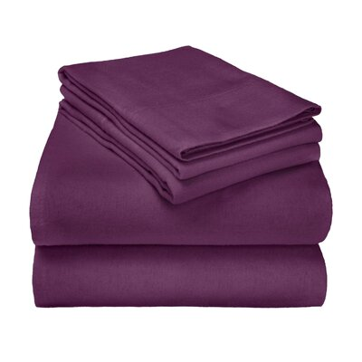 Wayfair Basics Flannel Sheet Set Color: Purple Solid, Size: Queen