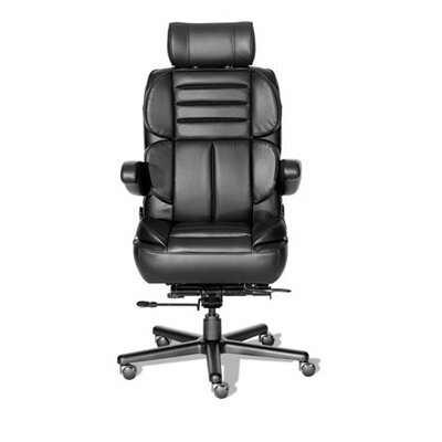 Comfort Series Galaxy Leathermate Vinyl High-Back Office Chair Color: Navy/Black, Casters: Hard Surf Product Image 4666