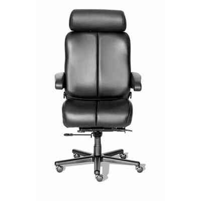 Comfort Series Marathon Leather High-Back Office Chair Color: Medium Gray/Black, Casters: Hard Surfa Product Photo 2690