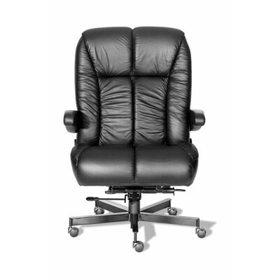 Comfort Plus+ Series Newport Ultra High-Back Leather Executive Chair Casters: Hard Surface, Upholstery: Navy/Chrome