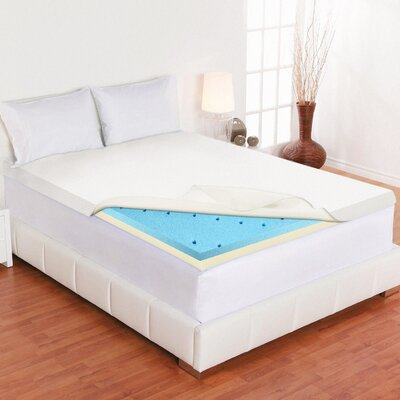 Cool Gel Memory Foam Mattress Topper Size: King