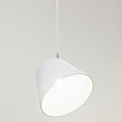 Tilt 1-Light Bowl Pendant Size: Large, Finish: White