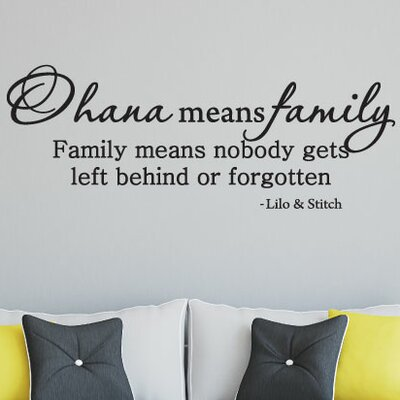 Quotes Ohana Means Family Wall Decal