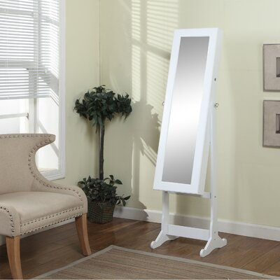 Bohr Floor Standing Jewelry Armoire with Mirror and LED Light Color: White