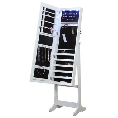 Home Deluxe Floor Standing Jewelry Armoire with Mirror and LED Light Finish: White