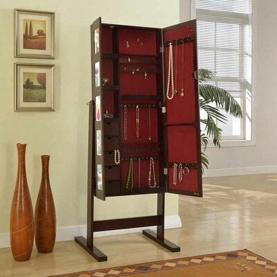 Deluxe Double Doors Jewelry Armoire with Chevor Mirror