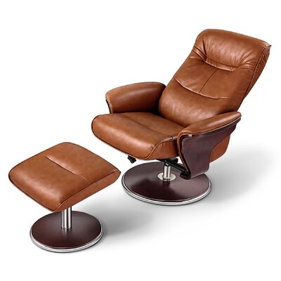 Milano Leather Swivel Recliner and Ottoman
