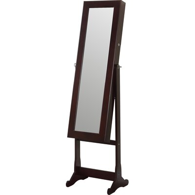 Home Deluxe Floor Standing Jewelry Armoire with Mirror and LED Light Finish: Walnut