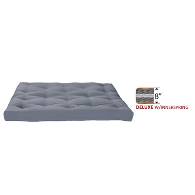 8 Medium Innerspring Full Futon Mattress Color: Grey