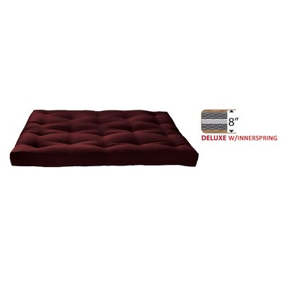 8 Medium Innerspring Full Futon Mattress Color: Dark Burgundy