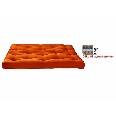 8 Medium Innerspring Full Futon Mattress Color: Orange