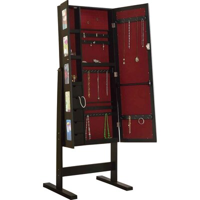 Deluxe Double Doors Jewelry Armoire with Chevor Mirror Finish: Espresso