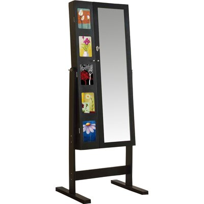 Deluxe Double Doors Jewelry Armoire with Chevor Mirror Finish: Java Black