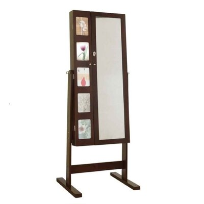 Deluxe Double Doors Jewelry Armoire with Chevor Mirror Color: Espresso