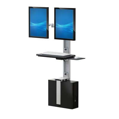 Height Adjustable Universal 2 Screen Workstation/Cart