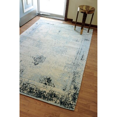 Hand-Woven Blue/Beige Area Rug