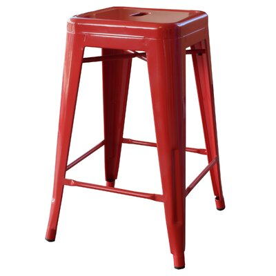 "Loft Metal 24"" Bar Stool Finish: Red"
