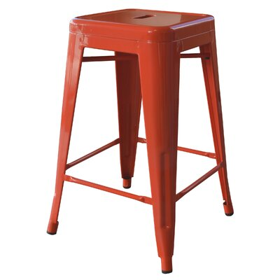 "Loft Metal 24"" Bar Stool Finish: Orange"