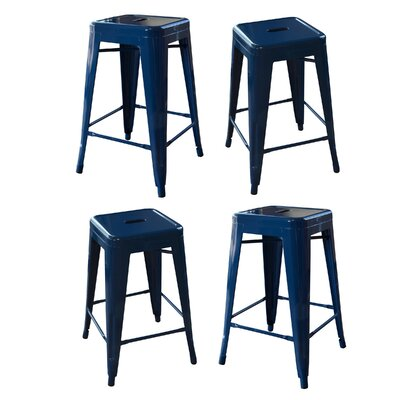 Loft Metal 24 Bar Stool Finish: Blue