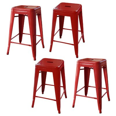 Loft Metal 24 Bar Stool Finish: Red