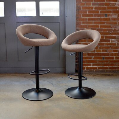 Classic Fabric Adjustable Height Swivel Bar Stool Upholstery: Brown