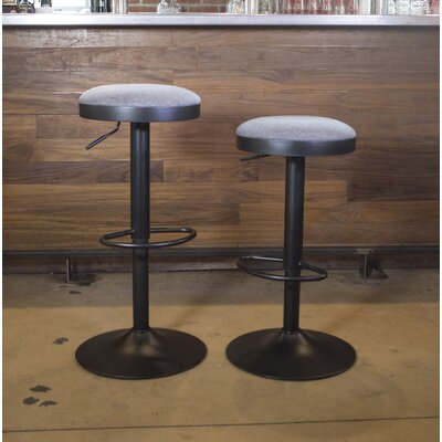 Classic Faux Leather Adjustable Height Swivel Bar Stool Upholstery: Fabric - Gray