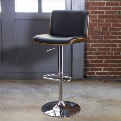 Bent Wood Faux Leather Adjustable Height Swivel Bar Stool