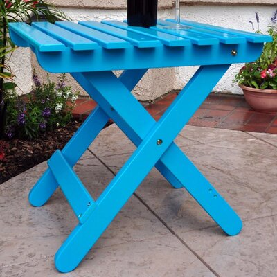 Livingston Solid Wood Adirondack Folding Side Table Finish: Aruba Blue