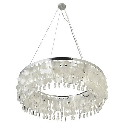 Capiz Seashell Ring 8-Light Crystal Chandelier