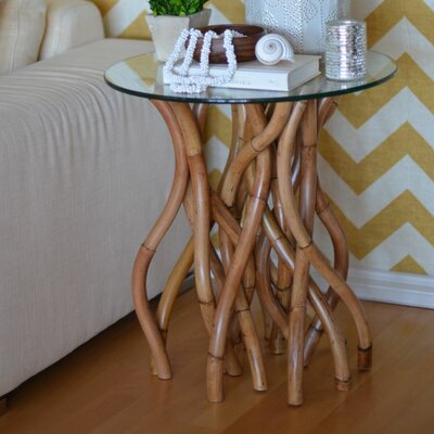 Twisted Rattan End Table