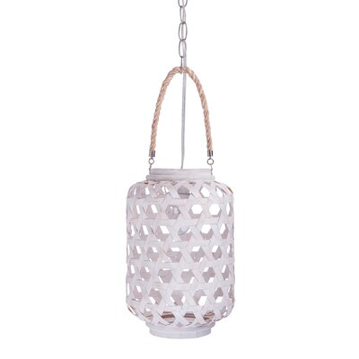 1-Light Drum Pendant Size: Large, Finish: White Wash