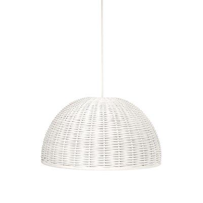 Handwoven 1-Light Bowl Pendant Shade Color: White