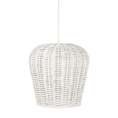 Handwoven 1-Light Pod Pendant Shade Color: White