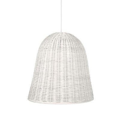 Handwoven 1-Light Bell Pendant Shade Color: White