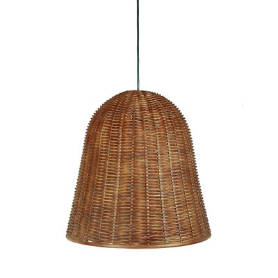 Handwoven 1-Light Bell Pendant Shade Color: Rustic brown