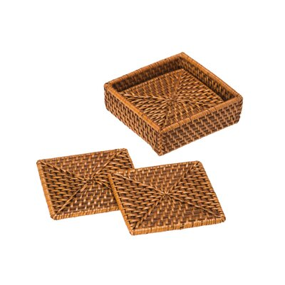5 Piece Square Rattan Coaster and Tray Set 1010036