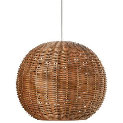 Wicker 1-Light Globe Pendant Shade Color: Rustic Brown
