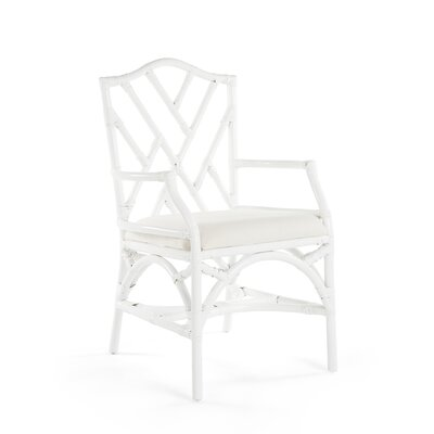 Margrett Rattan Arm Chair Color: White