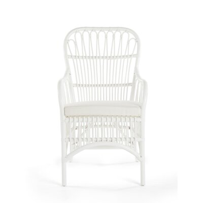 Deloris Rattan Arm Chair Color: White
