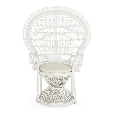 Carin Rattan Armchair Color: White