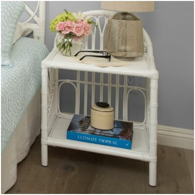 Deloris Rattan Nightstand Color: White