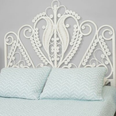 Patton Rattan Headboard Size: Twin, Color: White