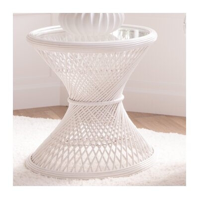 Rosana Rattan Side Table Color: White
