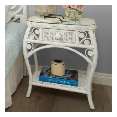 Rosana Rattan Side Table Finish: White