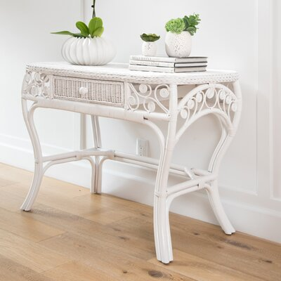 Rosana Rattan Console Table Finish: White