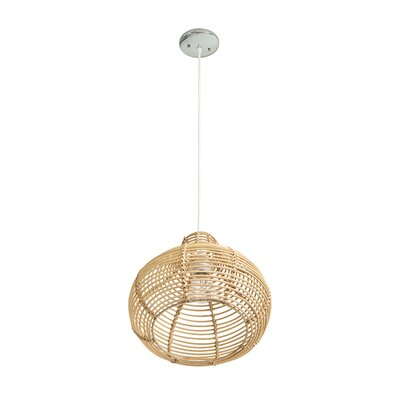 Steele Continuous Weave Wicker Dome 1-Light Inverted Pendant Size: 13 H x 16 W x 16 D