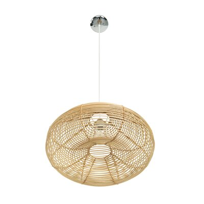 Steele Continuous Weave Discus Wicker 1-Light LED Inverted Pendant