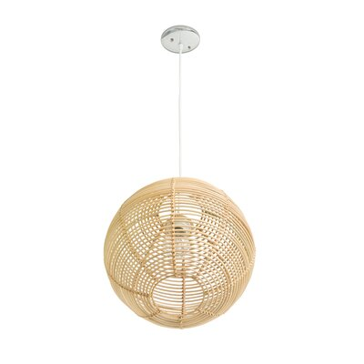 Steele Continuous Weave Wicker Ball 1-Light LED Inverted Pendant