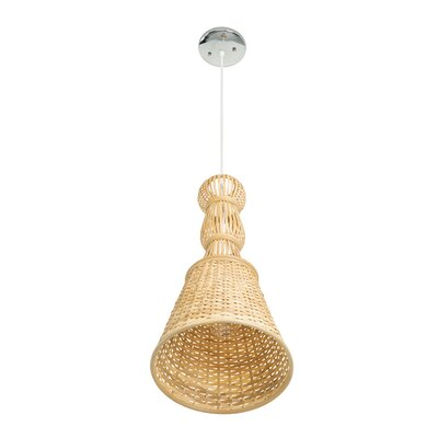 Eger Bamboo Baluster Bell 1-Light Inverted Pendant Finish: Natural